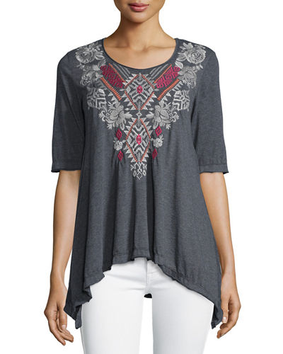 Dharma Embroidered Trapeze Tee, Plus Size