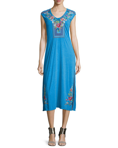JWLA for Johnny Was Callista Cap-Sleeve Maxi Dress