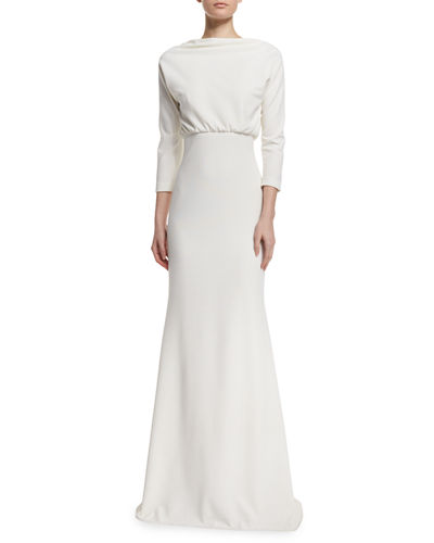 Badgley Mischka 3/4-Sleeve Blouson Column Gown