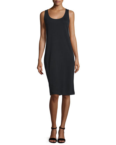 Joan Vass Sleeveless Luxe Pima Cotton Tank Dress,