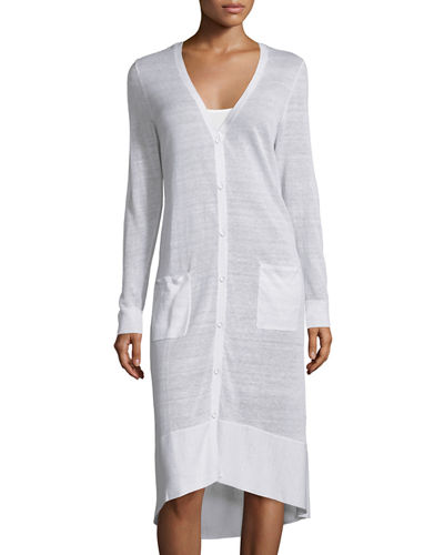 Joan Vass Long Sheer V-Neck Cardigan, Plus Size
