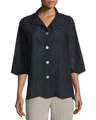 Patchwork Cotton Eyelet Shirt