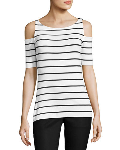 Deneuve Cold-Shoulder Striped Top