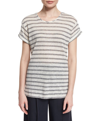 Double-Stripe Short-Sleeve Linen Tee