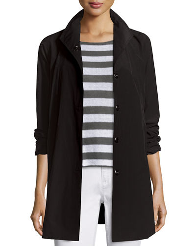 Eileen Fisher Weather-Resistant Snap-Front A-line Jacket