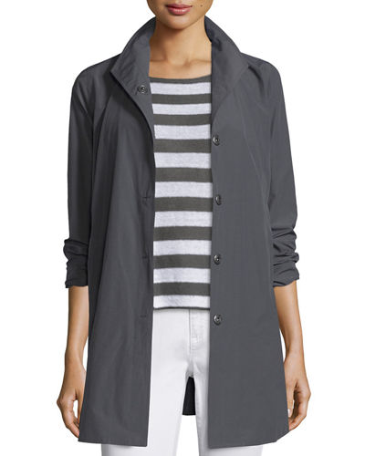 Weather-Resistant Snap-Front A-line Jacket