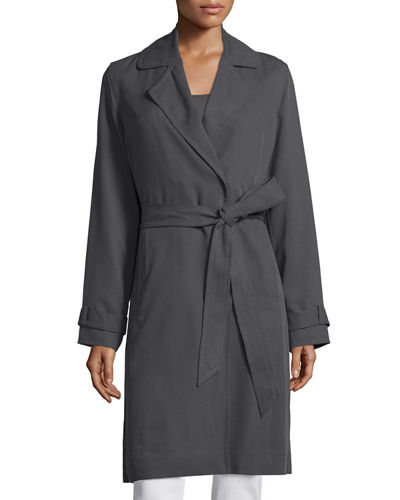 Eileen Fisher Snap-Front Belted Knee-Length Jacket