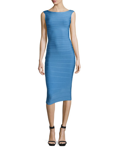 Sleeveless Bateau-Neck Bandage Dress