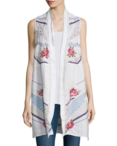 Sabine Long Embroidered Linen Open Vest