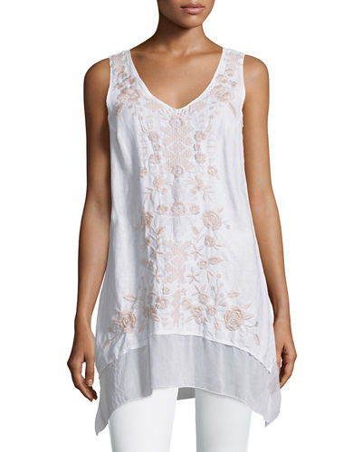 Aoko Sleeveless Embroidered Linen Tunic