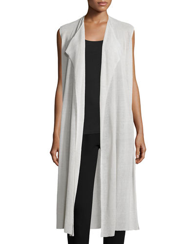 Fisher Project Cascading Crepe Knit Long Vest