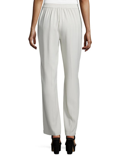 Eileen Fisher Silk Georgette Straight-Leg Pants