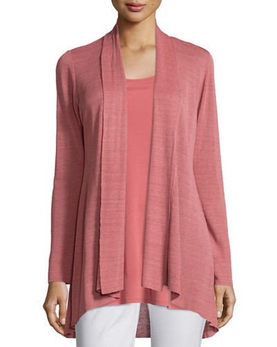 Linen-Blend Shaped Cardigan, Petite