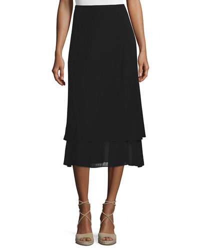 Eileen Fisher Washable Layered-Hem Skirt
