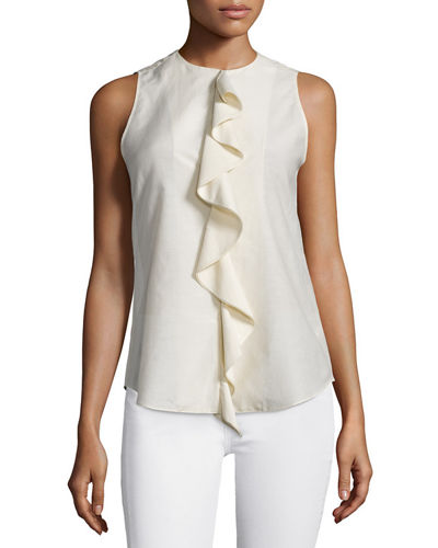 Theory Jastrid Lawn Ruffled Cotton Top