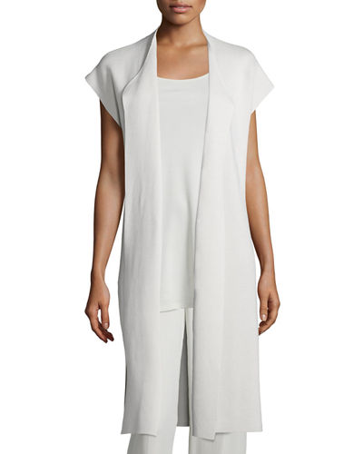 Eileen Fisher Draped Long Cotton/Silk Interlock Vest