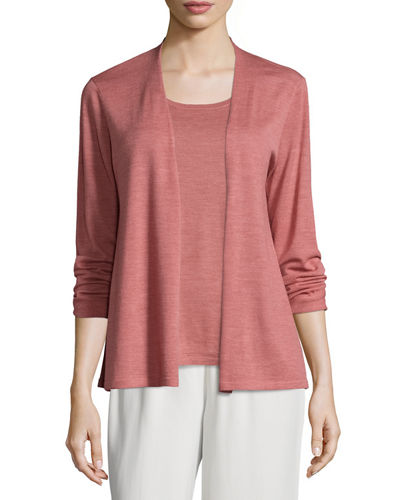 Eileen Fisher Lightweight Seamless Luxe Merino Cardigan, Plus