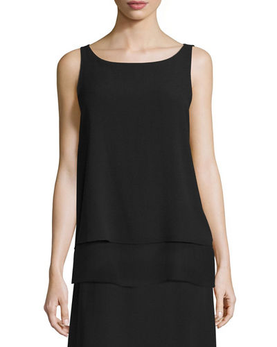 Ballet-Neck Layered-Hem Shell