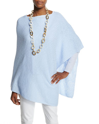 Organic Linen Cotton Slub Ribbed Poncho, Plus Size