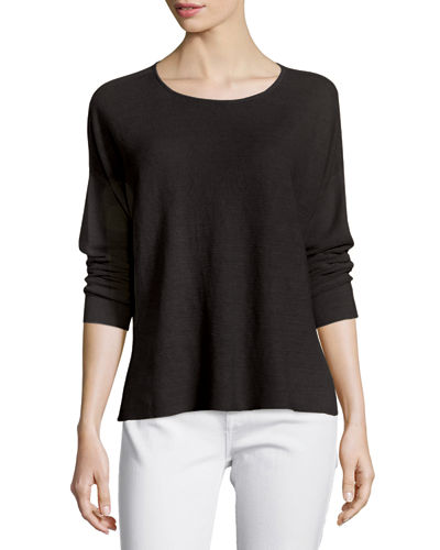 Eileen Fisher Long-Sleeve Organic Linen Box Top, Petite