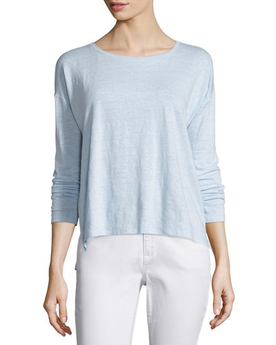 Eileen Fisher Long-Sleeve Linen Step-Hem Box Top, Petite