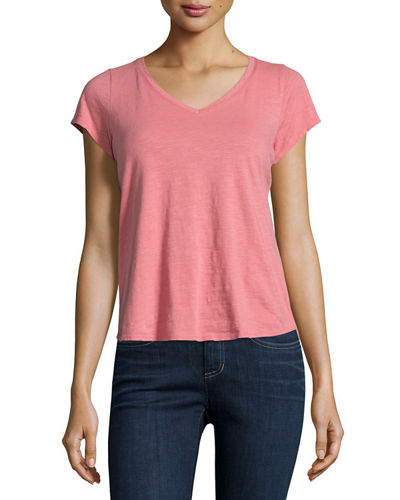 Eileen Fisher Short-Sleeve Organic Cotton V-Neck Tee