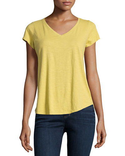 Eileen FisherShort-Sleeve Organic Cotton V-Neck Tee