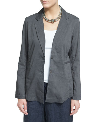 Eileen FisherNotch-Collar Two-Button Linen-Stretch Jacket