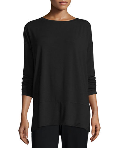 Eileen Fisher Long-Sleeve Jersey Tunic W/ Side Slits