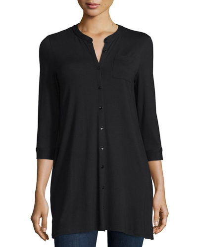 3/4-Sleeve Jersey Button-Front Tunic