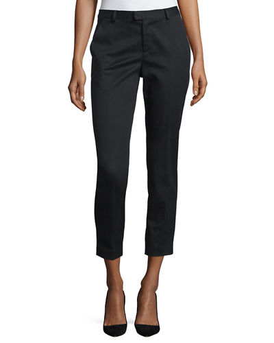 RED Valentino Mid-Rise Narrow Cropped Pants, Black
