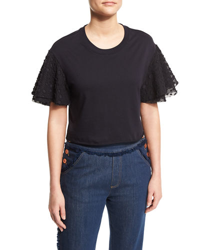 Boxy Cropped Jersey Tee with Embellished Sleeves
