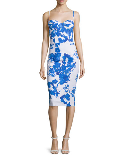 Custom Collection: Dionella Floral-Print Bustier Cocktail Dress