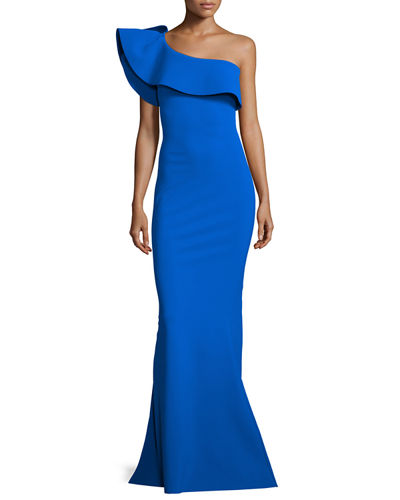 Custom Collection: Elisse One-Shoulder Ruffle Mermaid Gown