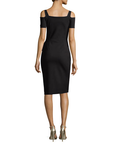 Custom Collection: Julia Cold-Shoulder Ruched Cocktail Sheath Dress