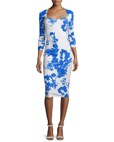 Custom Collection: Serenity 3/4-Sleeve Floral-Print Sheath Dress
