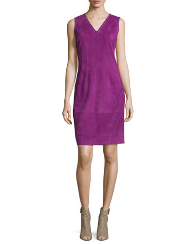 Annmarie Sleeveless Suede Sheath Dress