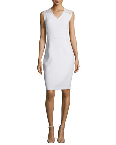 Benita Sleeveless Lace-Back Sheath Dress, Optic White