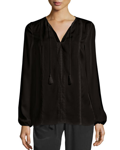 Josette Long-Sleeve Lace-Trim Silk Blouse
