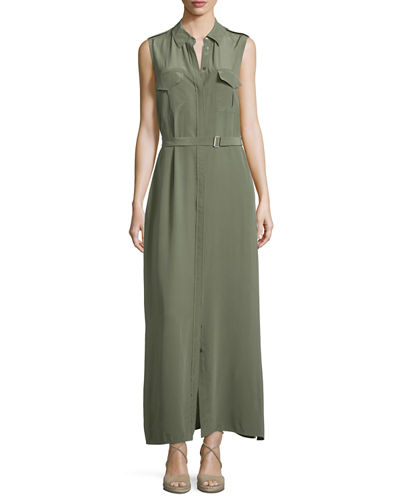 Equipment Major Sleeveless Button-Front Maxi Shirtdress