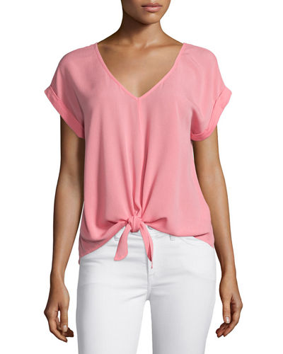 Splendid Short-Sleeve Tie-Waist Top