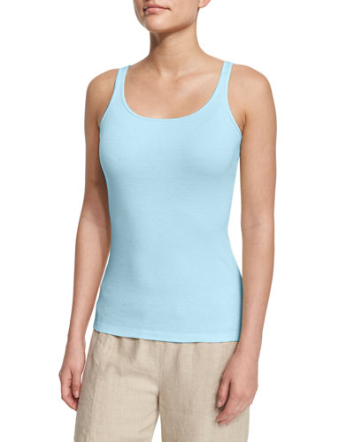 Long Organic Cotton Baby Rib Slim Tank, Windflower, Petite