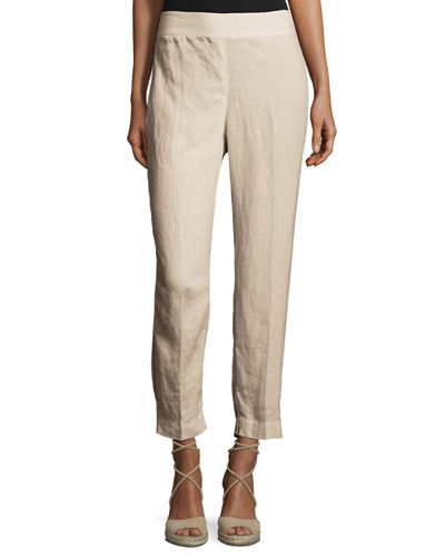 Organic Linen Straight-Leg Ankle Pants, Natural