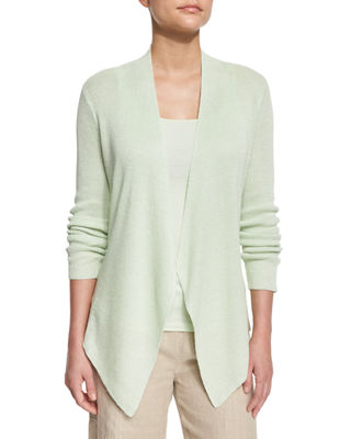 Angled-Front Organic Linen Jacket