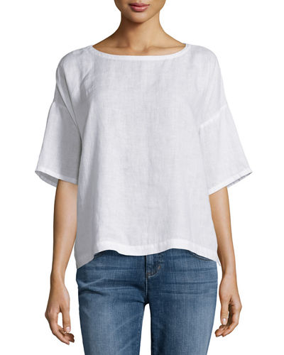 Eileen Fisher Short-Sleeve Linen Boxy Top, Petite