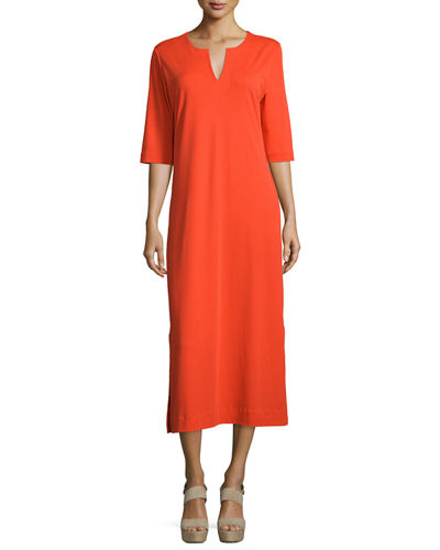 3/4-Sleeve Cotton Interlock Maxi Dress, Petite