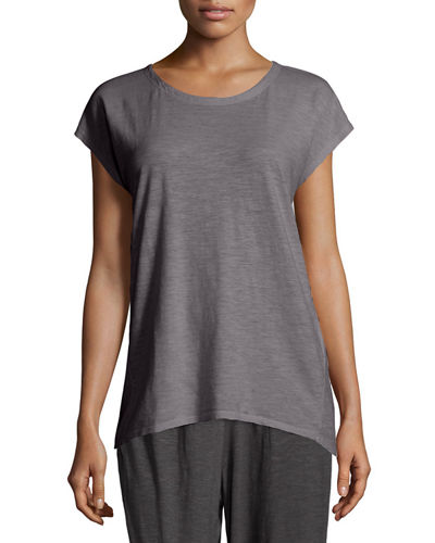 Long Cap-Sleeve Hemp Twist Top, Petite
