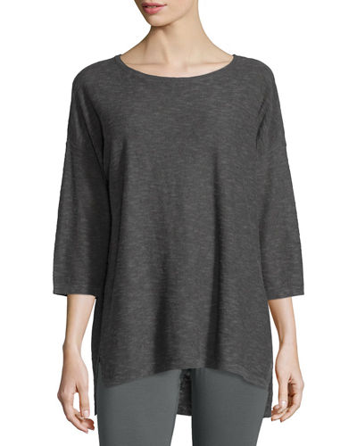 Eileen Fisher Slub Reverse Linen/Cotton Tunic