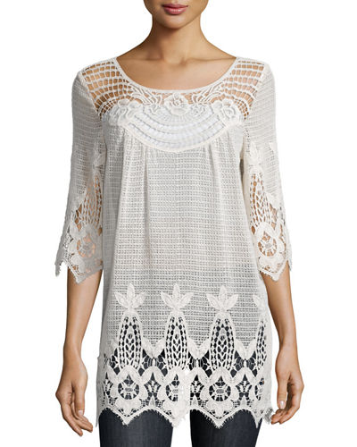 3/4-Sleeve Crochet Tunic, Plus Size