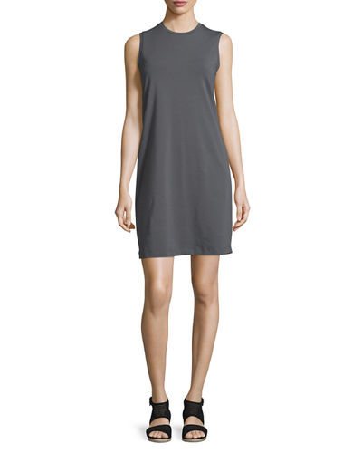 Eileen Fisher Crewneck Organic Cotton Jersey Tank Dress, Petite